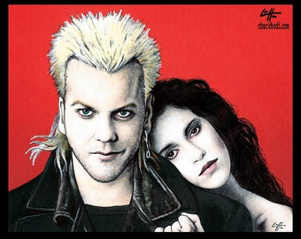 "Print 8x10"" - David and Star - The Lost Boys Vampire Horror Dark Art Blood Kiefer Sutherland 80s Gothic Halloween Zombie David Van Etten"