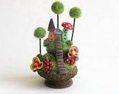 Miniature  Charming Whimsy Fairy House Colony in Acorn Cap OOAK by C. Rohal