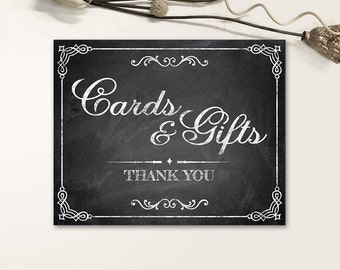 Printable Wedding Signs, Chalkboard Wedding Signs, Cards & Gifts Wedding Signs PDF, JPG files - Chalkboard