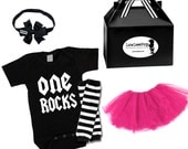 Girls 1st Birthday outfit gift set, One Rocks Onesie, Pink Tutu Skirt, Leg Warmers ,Headband Bow...Great for photoshoots