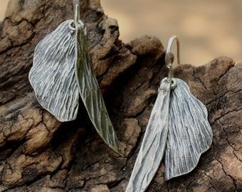 Silver leaf dangle earrings with oxidized silver accents