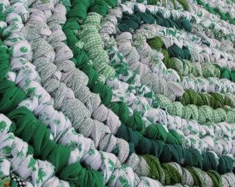 Handmade Rag Rug -  Oval Rag Rug - Emerald Green & White Rag Rug - Crochet Rug - Rug for Home - Kitchen Rug - Green Rug for Bathroom