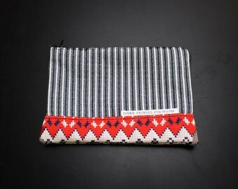 TUTONE vintage polyester zip pouch in Mod Stripe