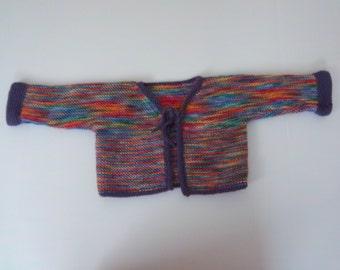 Girls Rainbow soft wool handknit cardigan w purple trim Age 3-5yrs See Measurements