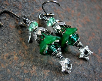 Emerald Nymph Earrings, Shades of Green, Fairy Flower Earrings, Green & Silver, Silver Stars, Elven Green, Faery Couture, Elksong Jewelry