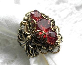 Dark Rose Glass Ring - Antiqued Brass Ox Adjustable Ring - Vintage Glass Jewel