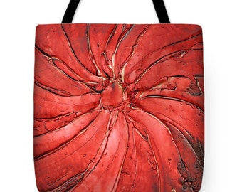 Red Tote Bag - wearable art, red gold shopping tote, beach bag, supermarket bag, reusabe grocery bag