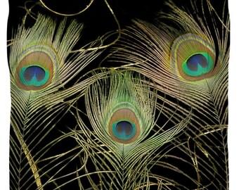 Designer Art Duver Cover- peacock feather, abstract modern interior design, bedroom home decor from Susanna's art