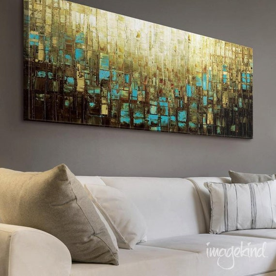 Blue Brown Canvas PRINT Wall Art Large Abstract Wall Decor Mid Century Modern Art - Small to XL Oversized, Ready to Hang -by Susanna