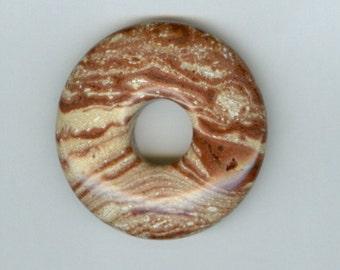 40mm Brown and Cream Swirly PI Donut Pendant 633