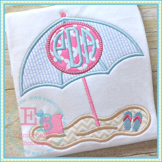 Items Similar To Umbrella On Beach With Circle Monogram