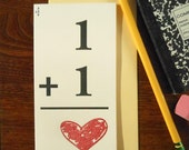 letterpress vintage 1 +1 = heart flash card for love greeting card math grade school teachers perfect for love, weddings, valentine