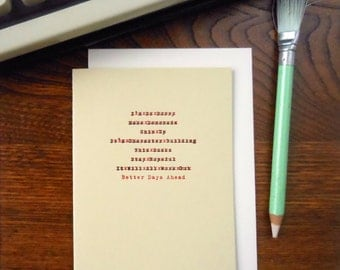 SALE 50% OFF letterpress edited sorry greeting card better days ahead typewriter correction red & black ink on soft greenish-yellow paper