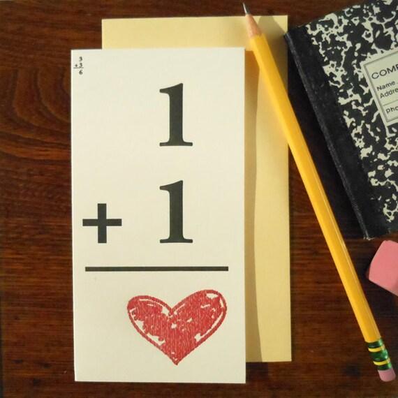 letterpress vintage 1 +1 = heart flash card for love greeting card math grade school teachers perfect for love, weddings, valentine