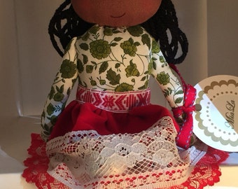 VERONICA, a Christmas Kindness Elf from MiaLa Holiday Collection 2016. Black haired, dark skinned softie girl doll.