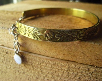 Bangle Bracelet, Mixed Metals, Sterling Silver, Pure Brass, Floral Cuff, Floral Design, Rolo Chain, Sterling Chain, candies64