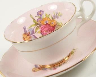 Vintage Royal Stafford Bone China Teacup Tea Cup Saucer Roses Flowers Floral Pink Yellow Purple Iris England