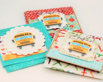 School Themed Mini Card Set of 3 with Matching Print Envelopes