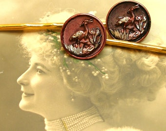 French BUTTON hair pins, Victorian birds in maroon on gold bobby pins, hair grips, present gift. Vintage button jewelry, jewellery.