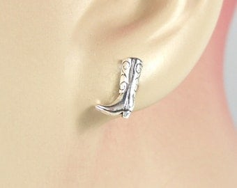 Sterling Silver Earrings Cowboy Boot Western Cowgirl Minimal Ear Studs no. 3415