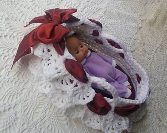 Lace Crochet Basket - Lacey Little Moses Basket Crochet Pattern - Doll Carrier 8 - 12 inch doll