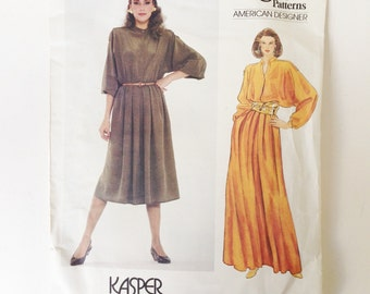Vintage Vogue American Designer Kasper Sewing Pattern 80s Dress Vogue 2967 34 Bust