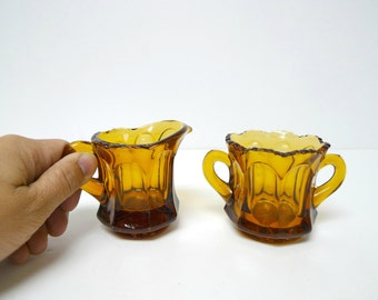 Colonial by Heisey  . Amber glass . hotel mini sugar and creamer