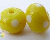 Lampwork Beads Lemon Yellow Polka Dot Pair
