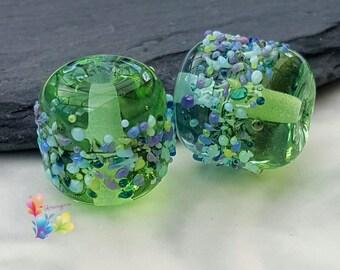 Lampwork Beads Green & Blue Batik Blossom Pair