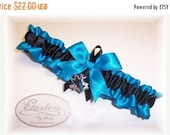 SALE 10% OFF Handmade Wedding Garter with San Jose Sharks charm Toss Satin TB