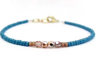 Turquoise Friendship Bracelet, Copper Gold Beaded Bracelet, Seed Bead Bracelet, Friendship Bracelet, Zen Yoga Bracelet, Dark Turquoise Blue