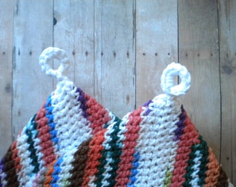 Potholders,Crocheted Cotton,  2 Layer, Handmade, Colorful, Scrappy