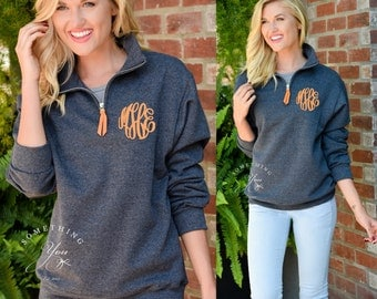 Monogrammed Pullover with Quarter Zip - Monogram Sweatshirt, Monogram Pullover, College Student Gift, College Colors, School Colors