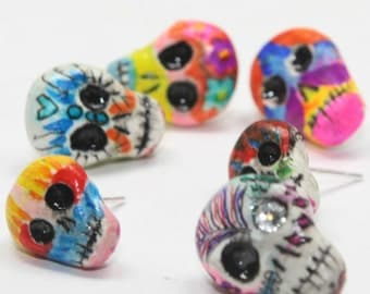 Varied Dia De Los Muertos Skull Earrings