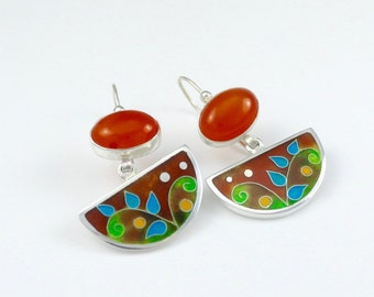 Cloissone Earrings, Carnelian Streling silver earrings