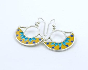 Earrings cloisonne enamel  silver earrings