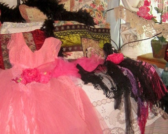ROMANTIC and Darling Precious Princess Pink Fairy Lace and Tulle Dress with Floral belt OOAK