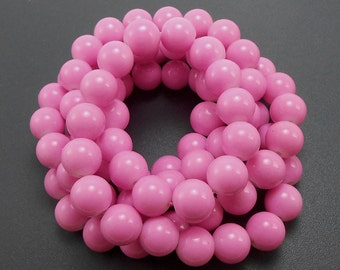 50 Cotton Candy Pink Glass Beads 10mm round (H2130)