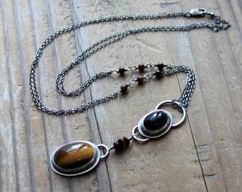 Priestess Talisman - Tiger Eye - Bulls Eye - Hawks Eye - Freya - Sterling Silver Necklace - Artisan Made