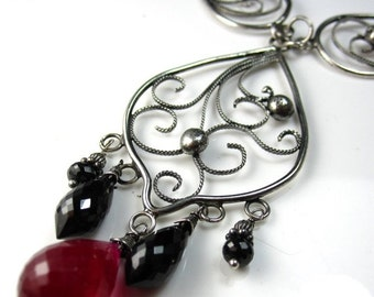 SALE Ruby Chandelier Necklace - Black spinel, ruby and silver