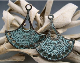 BIG SALE Naos - Lotus Blossom Double-Sided Charms - Mykonos Greek Copper Antiqued Green Turquoise