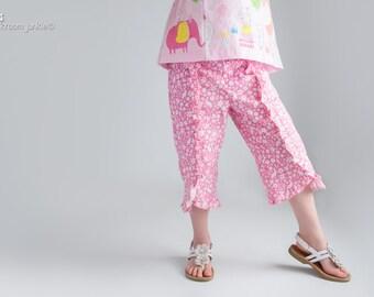 Girl's Pants Pattern - Ruffle Capri Pants Pattern for Girls - Pants Pattern PDF