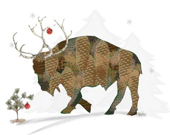 Buffalo Art - Pine Cone Buffalo -  Reindeer Art Print - Buffalo Bison Christmas  Print - Buffalo NY - Buffalo Gift