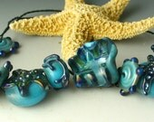 Lampwork Glass Beads by Catalinaglass SRA Turquoise and Silver Beach Set