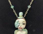 RESERVED for Krystal- Original Sculpture Steampunk Soul Octopus Lady Light Blue & Brown Necklace