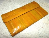 Vintage Bright Mustard Yellow Eel Skin Wallet, 80s, Credit cards, Coins, eelskin, accessory, made in Korea