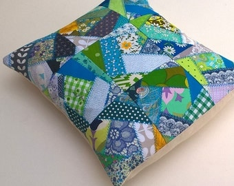 Bright Modern Vintage Crazy Patchwork Cushion Cover