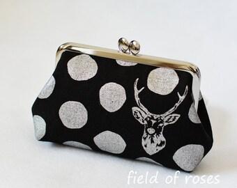 Clasp Cosmetic Purse Deer Polkda Dots Metallic Silver Frame Bag Cosmetic Bag Black
