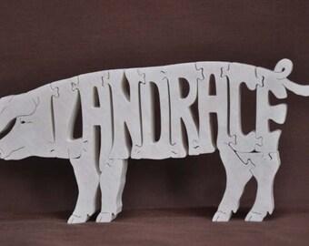 Landrace Pig Swine Hog Wooden Farm Animal Puzzle Toy Hand Cut  with Scroll Saw