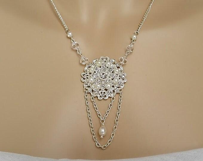 Bridal Pearl Necklace Wedding Statement Necklace Tear Drop Pearl, Wedding Pearl, Art Deco, Gatsby, Bridal Jewelry Vintage, Victorian